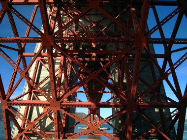 Looking up at the Golden Gate Bridge from Fort Point