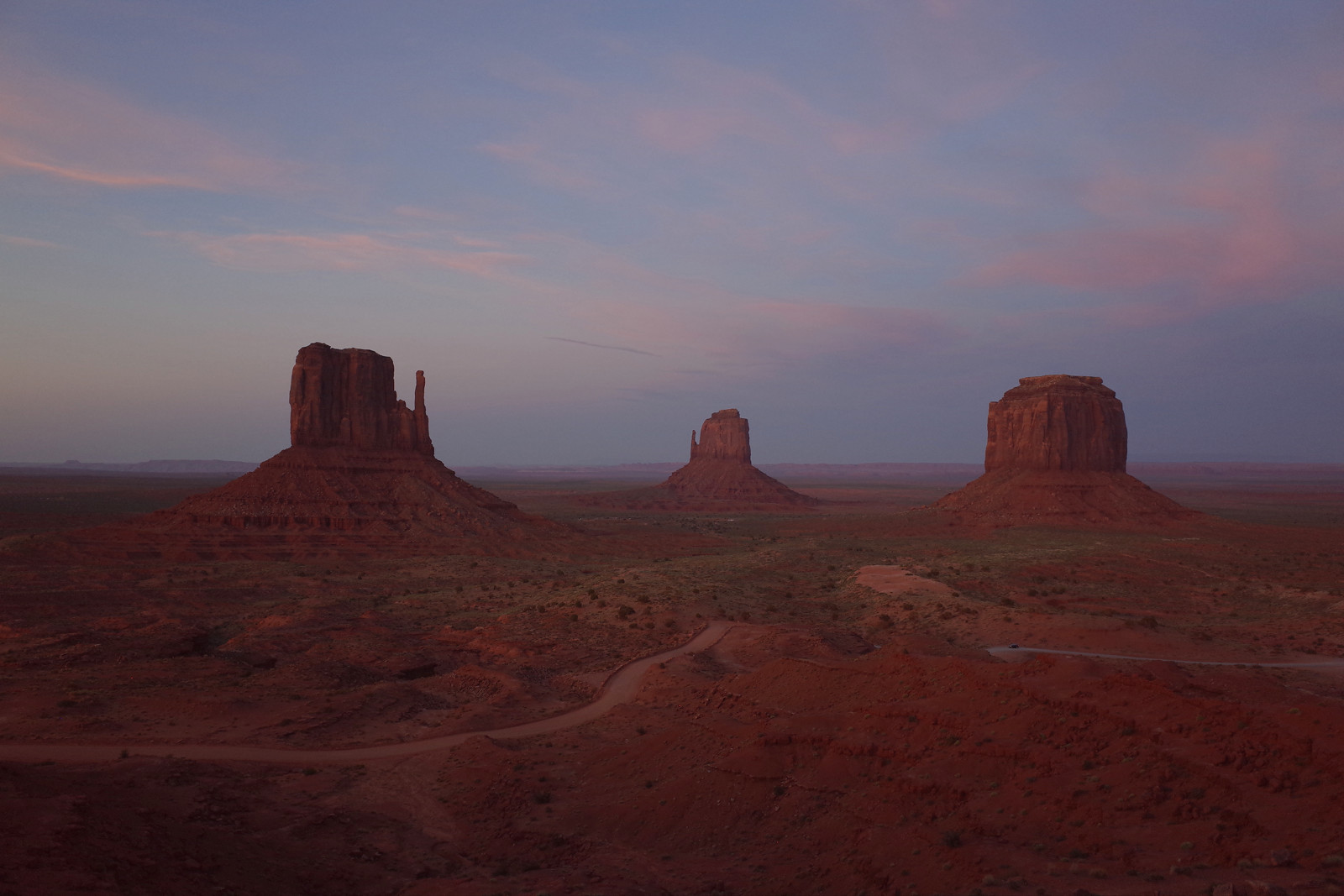 The Mittens of Monument Valley at dusk