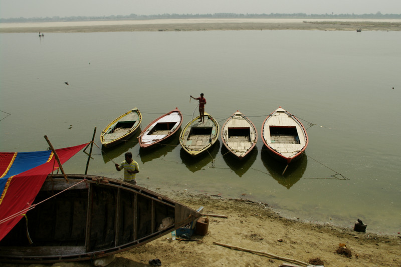 Boats along the Ganges in Varanasi, India