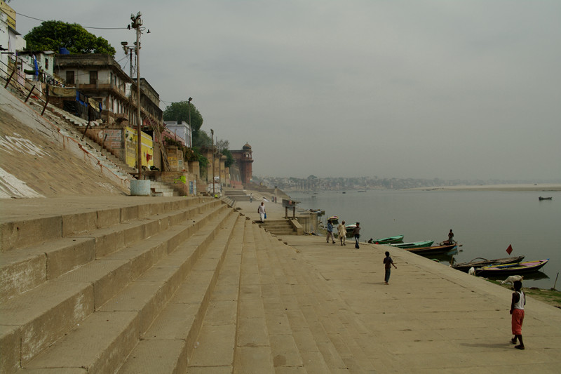 Looking down the ghats along the Ganges in Varanasi, India