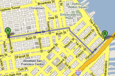 Walking map from home to FM's new location at 2 Harrison Street
