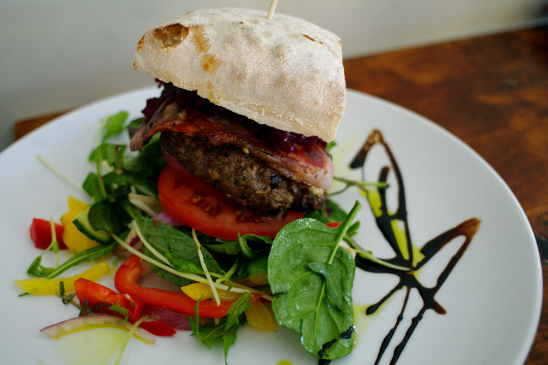 Gourmet burger from Oggie's in Wanganui, New Zealand