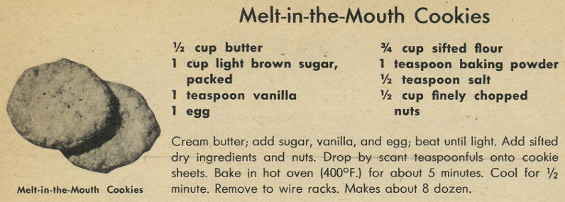 Melt-in-the-Mouth cookies recipe in the 1962 Woman's Day Cookie Cook Book