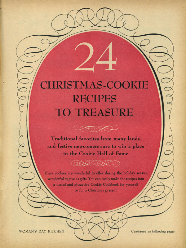 Woman's Day December 1953 Christmas-Cookie Recipes to Treasure