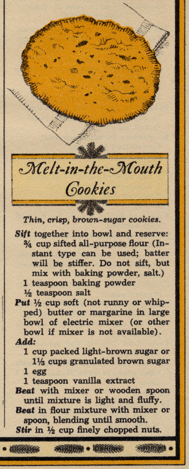Melt-in-the-Mouth cookie recipe part 1 from the December 1964 issue of Woman's Day