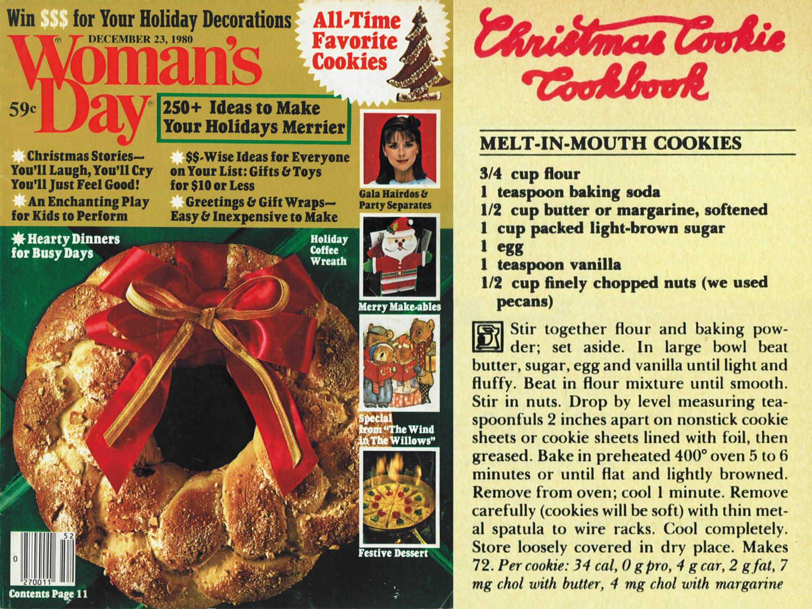 Cover of December 1980 Woman's Day with Melt-in-Mouth Cookies recipe from pages 144 and 146