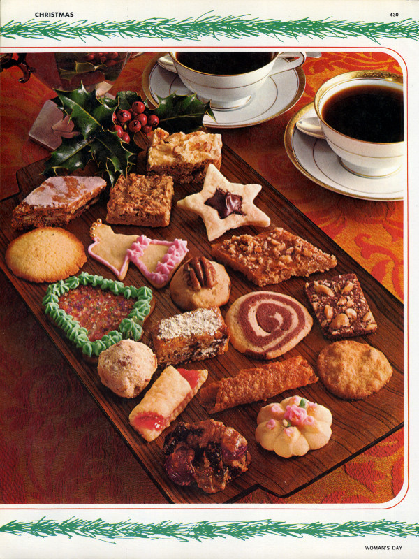 Woman's Day Encyclopedia of Cookery, Volume 3, page 430, showing a tray of Christmas cookies