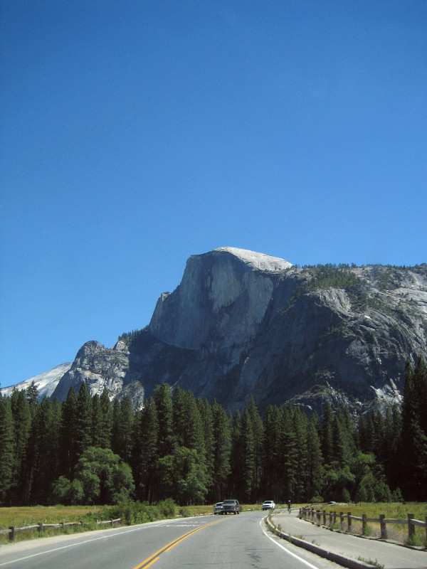 Half Dome seen from the road in Yosemite National Park