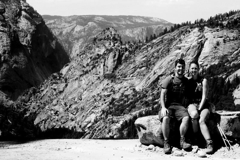 Justin and Stephanie at the top of Nevada Fall at Yosemite National Park (black and white)