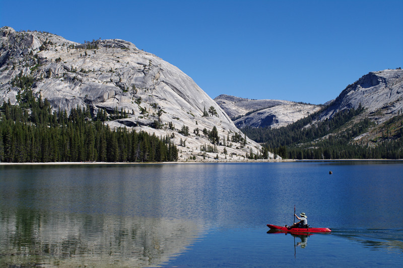 Kayaker in Tenaya Lake