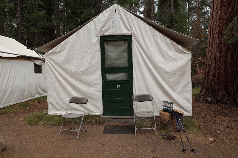 A tent cabin at Merced Lake High Sierra Camp in Yosemite National Park