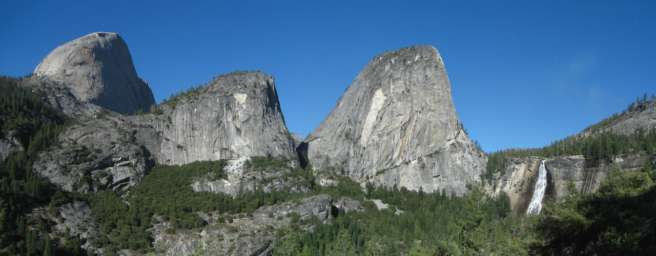 Panorama with Nevada Fall in Yosemite National Park