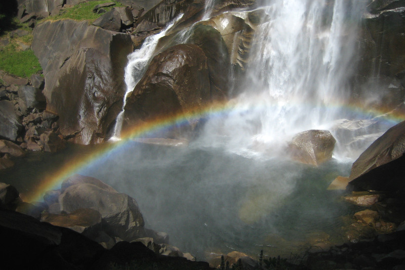Rainbow at the bottom of Vernal Fall in Yosemite National Park