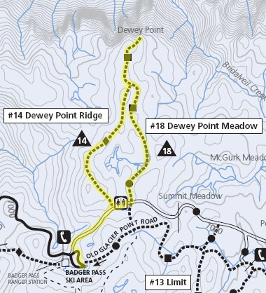 Trail map to Dewey Point
