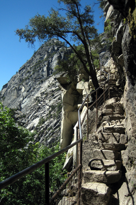 Stairs to the top of Vernal Fall in Yosemite National Park