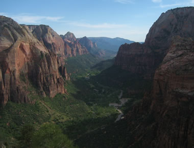 view of zion national park from the pinnacle of angel's landing